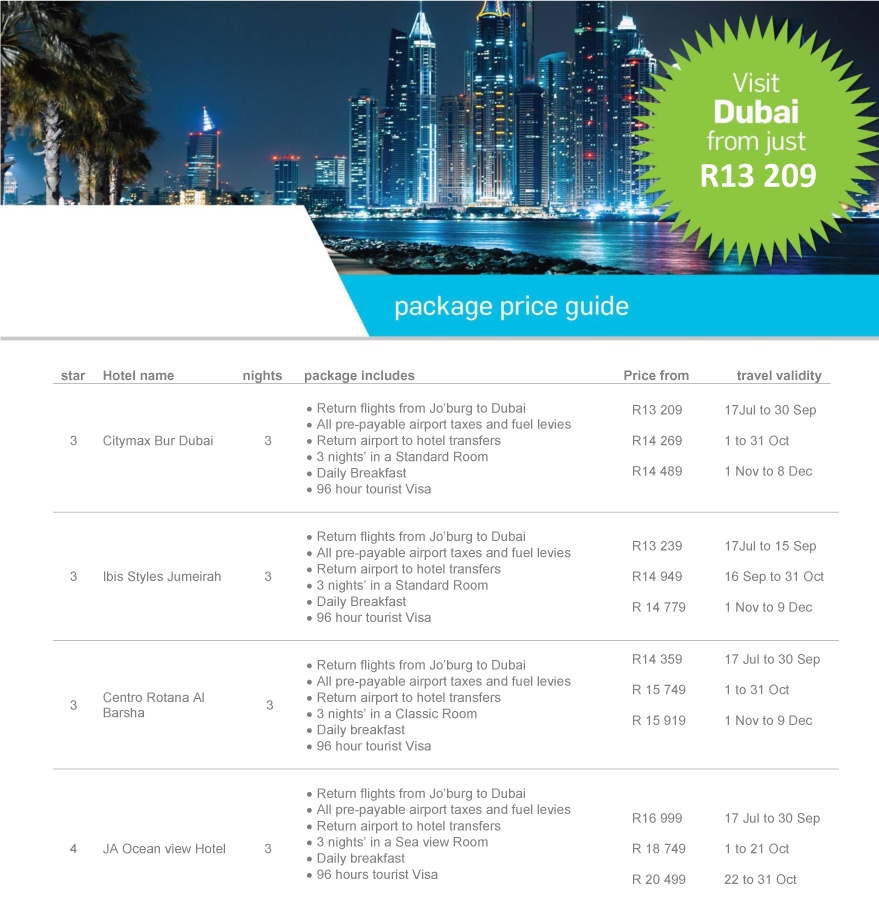 Visit Dubai from just R13 209