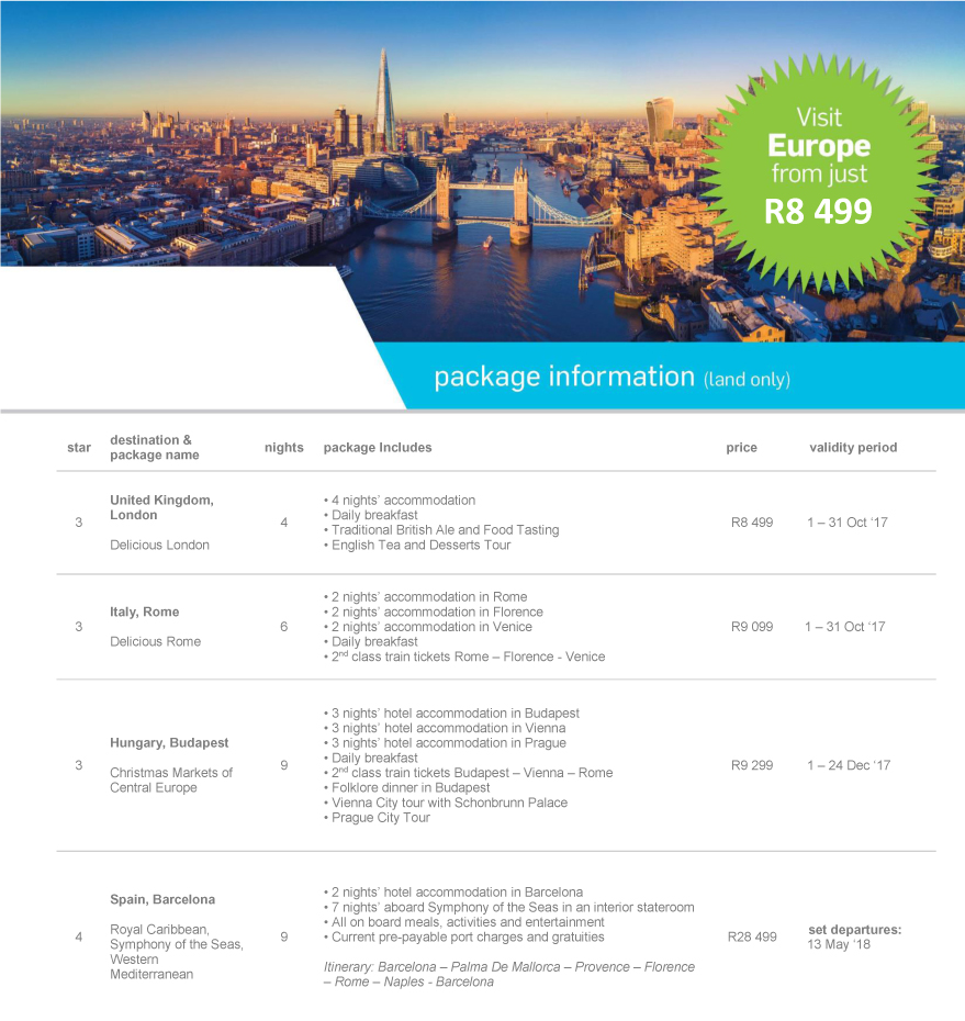 Visit Europe from just R8 499