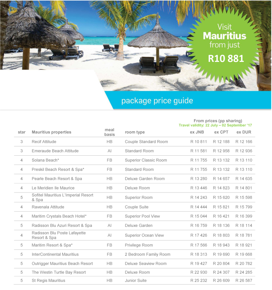 Visit Mauritius from just R10881