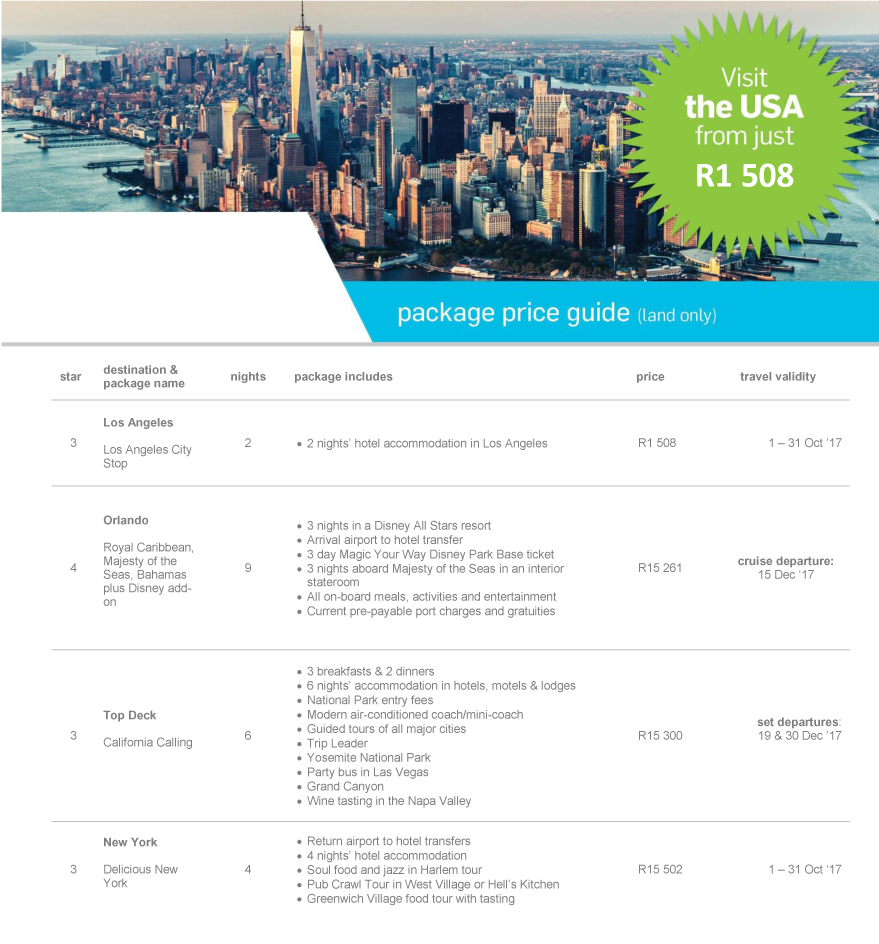 Visit the USA from just R1 508